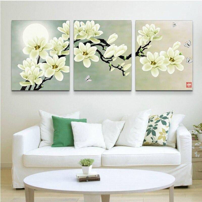 handpainted flowers oil painting flower moon painting