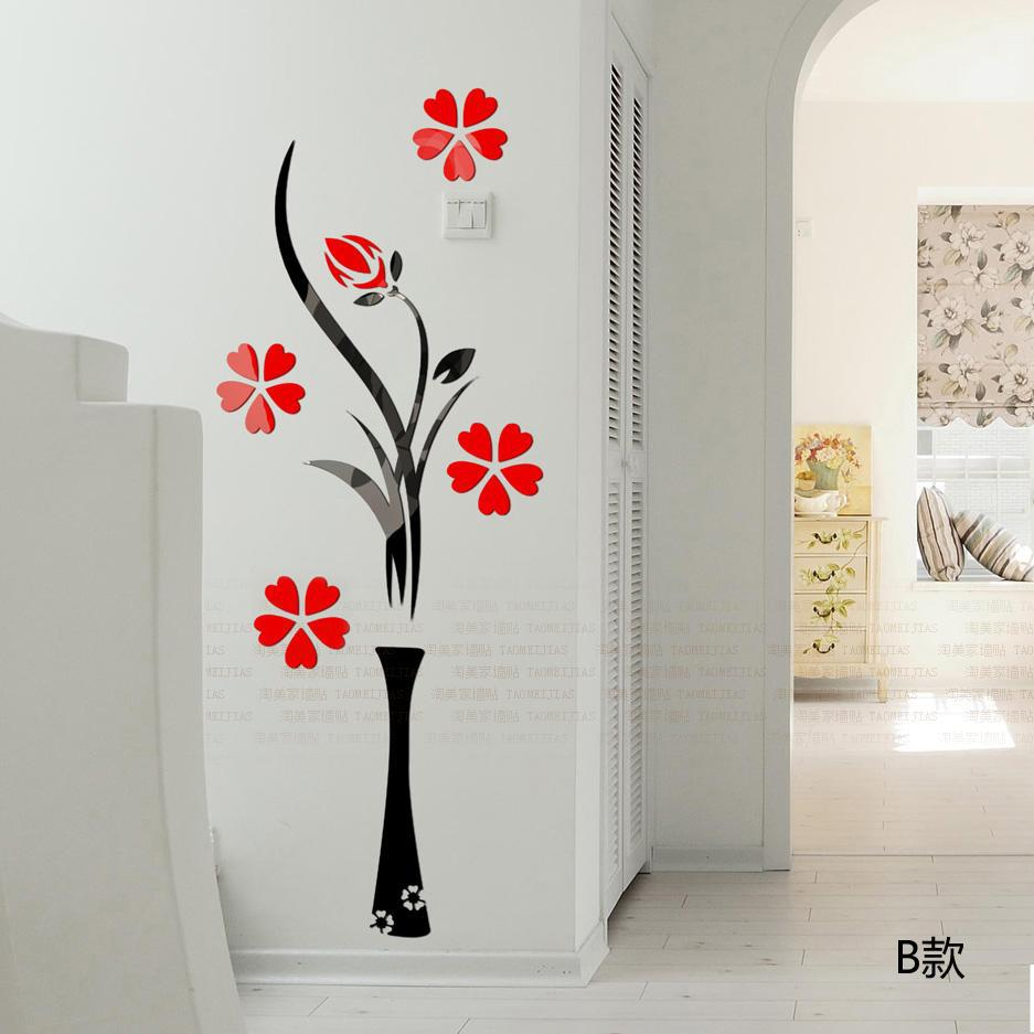 Hot 3d wall stickers vase plum flower modern home decor diy hot 3d wall stickers vase plum flower modern home decor diy crystal acrylic wall sticker bedroom tv entrance decorative pictures in wall stickers from home amipublicfo Image collections