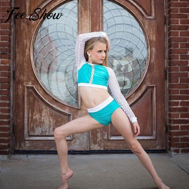 FEESHOW Kids Ballet Gymnastics Leotard Long Fishnet Sleeves Crop Top With Bottoms Workout Outfit For Girls Performance Costume