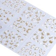 30pcs set di adesivi per Nail Art NTL-12 decalcomanie per acqua piena di fiori in oro e bianco per smalto per unghie 3D