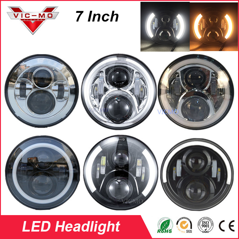 7'' LED Projector Daymaker Headlight Light with Halo Angel Eyes For JEEP Wrangler LJ Sahara Rubicon Unlimited Hummer H1 & H2 1 pc j285 cb antenna mount holder tailgate for jeep wrangler rubicon liberty sahara jk