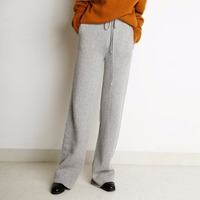 100% Cashmere Straight Pants Women Mid Elastic Waist Pockets 2 Colors Full Length Casual Pants Simple Design 2018 New Fashion