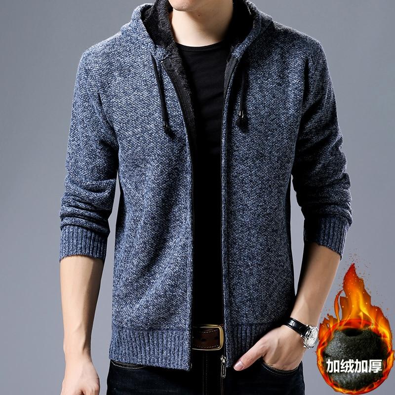 Men Sweater Cardigan Zipper Fashion 2018 New Men's Thick Winter Sweater Hooded Casual Sweater Men Loose Velvet Knit Jacket Man