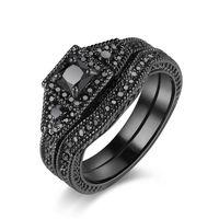 Bridal Princess Cut Halo CZ Black Wedding Band Engagement Ring Set Rhodium Plated Vintage Classic