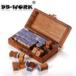 DIY Corea comediante nuevo álbum retro letras de madera con botones de latón 30 unidades sello