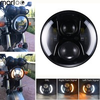 Harley Touring Led 7 Inch Motorcycle Headlight For Harley Davidson With White DRL Amber Signal Lamp For Softail Sportster