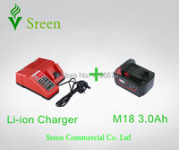New 3000mAh Lithium Ion Rechargeable Battery Packs With Power Tool Battery Charger Replacement For Milwaukee 18V