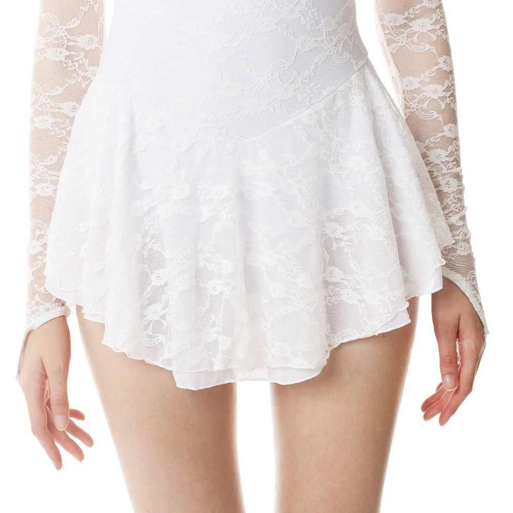 Белые фигурное катание платье льда юбки для конькобежцев с длинными рукавами спандекс