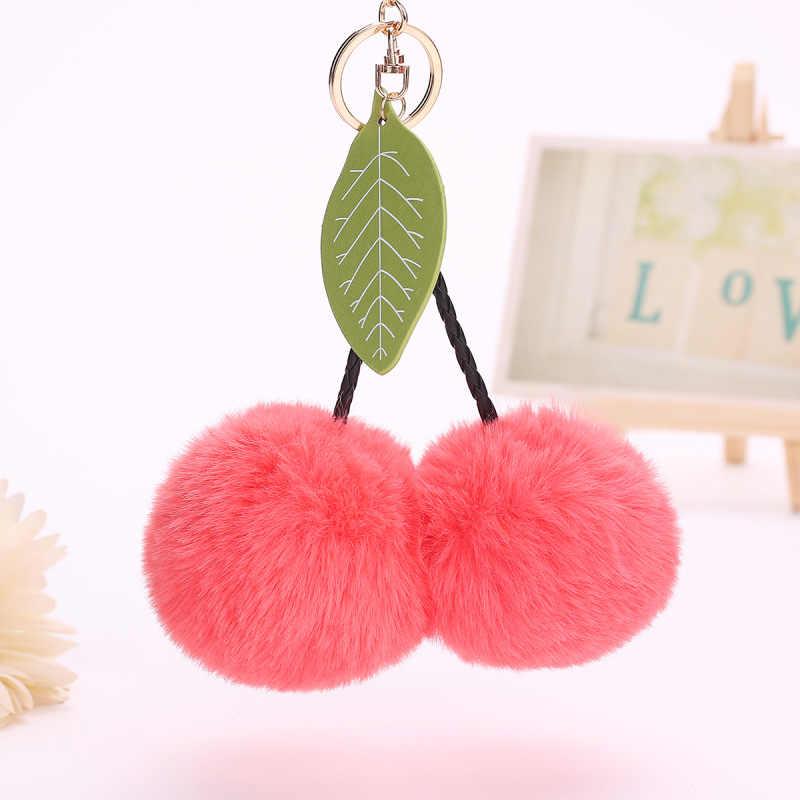 1140019c546 Original Cute Faux Rabbit Fur Ball Pompom Cherry Keychain Fluffy Pompon Key  Chain Pom Pom Toy