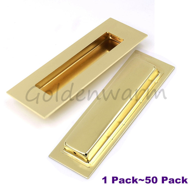 recessed handles brushed brass golden rectangle flush pull handle