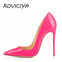 Sexy Women Pumps 8 cm 10 12 Stilettos Shoes High Heel Wedding Party Patent Leather Rose Pink QP001 ROVICIYA