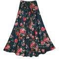 Superior de La Venta de Impresión Multicolor de Impresión de Lino Faldas Largas Faldas de Bohemia Estilo Étnico Impresión de Lino Más Tamaño Faldas