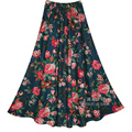 Top Sale Printing Linen Long Skirts  Multicolor Print Skirts Bohemia Style Ethnic Print Linen  Plus Size Skirts