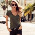 2016 de moda de verano señoras de la oficina mujeres de la camiseta tops del ejército verde con cuello en v de algodón casual t-shirt camisetas mujeres de talla grande ropa