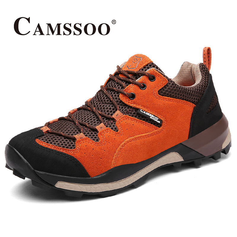 2018 Camssoo Mens Breathable Hiking Shoes Non-slip Climbing Sports Shoes Outdoor Shoes For Men Grey Blue Free Shipping 6083 2016 new couple hiking shoes breathable non slip outdoor sports shoes large size climbing shoes for men and women