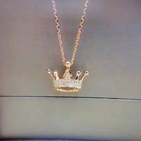ANI 18K Rose Gold (AU750) Pendant Necklace 0.094 ct Real Diamond Jewelry Crow Shape Princess Pendant for Women Engagement Gift