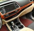 Proceso de Horneado de alta calidad marco de Madera grano mate estilo Car center controles 1 unids para accesorios de Toyota Highlander 2015 LHD