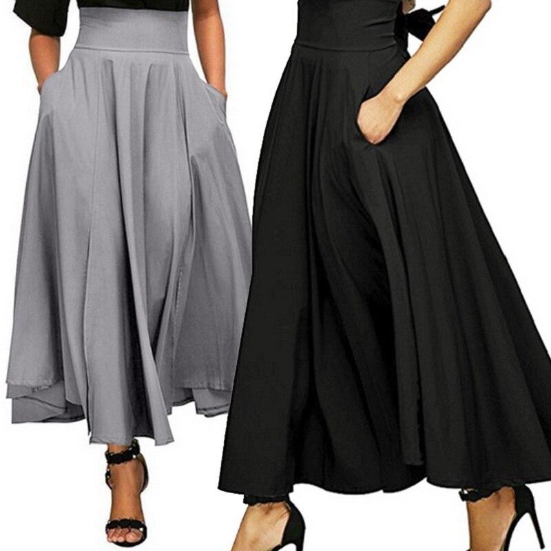 ZOGAA 2019, черные длинные юбки с высокой талией и карманом, высокое качество, одноцветные винтажные юбки длиной до щиколотки, женские длинные плиссированные юбки с бантом