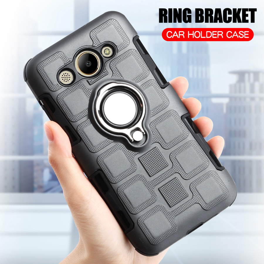 Cover For Huawei Y3 2017 Silicone Shockproof Phone Case For Huawei Y3 2017 Luxury Armor Anti Fall Back Cover Ring Stand Case in Fitted Cases from Cellphones Telecommunications