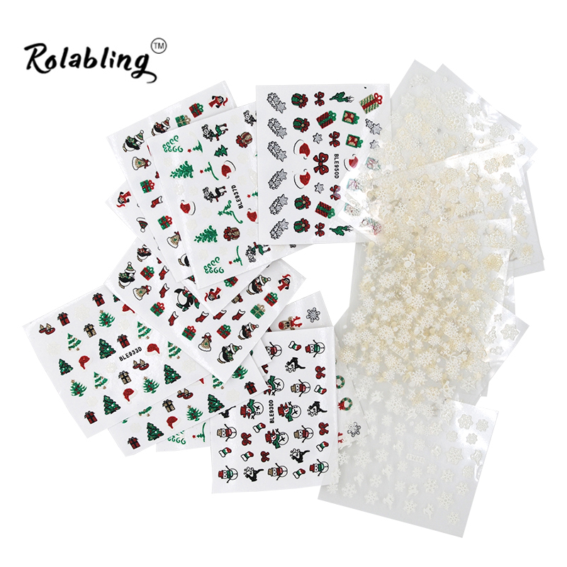 Hot Sale Mixed Christmas Style Nail Sticker For Nail Tips Decoration Tool Snowflake Pattern 3d Decal Sticker Beauty Accessories best price mgehr1212 2 slot cutter external grooving tool holder turning tool no insert hot sale brand new