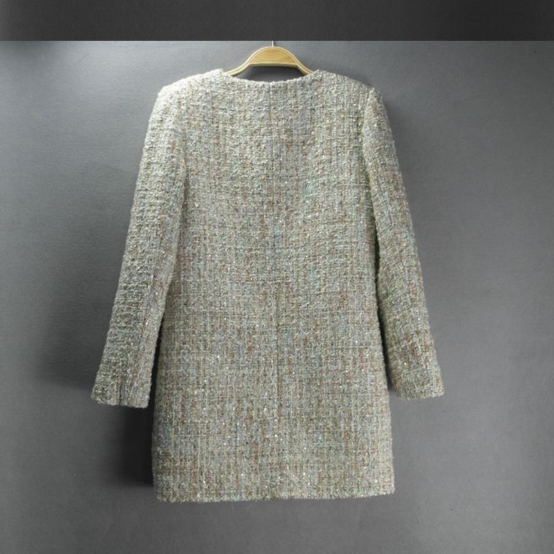 Mode Laine Sections automne hiver Picture Longues Casual Dames Tweed Printemps Manteau Manches De Color 2018 Femmes Veste Et À 0qw8vwZI