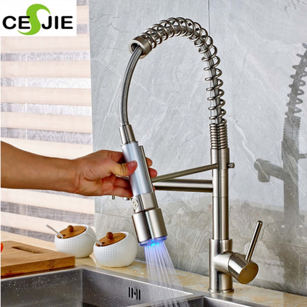 ФОТО Deck Mount Brushed Nickel Kitchen Faucet LED Color Changing Swivel Spout Vessel Sink Mixer Tap