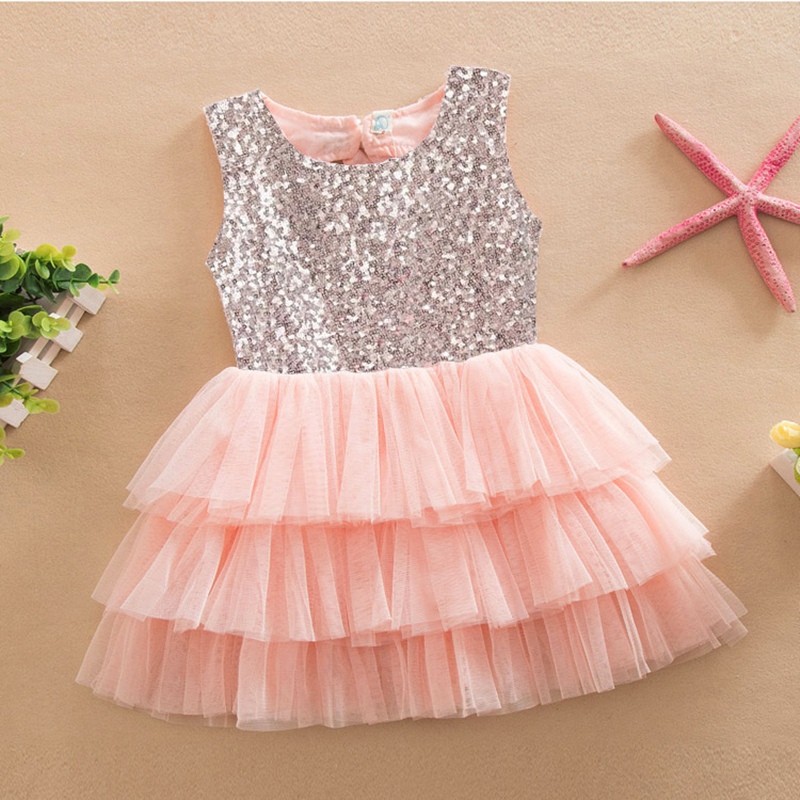 Big Bowknot Decor Summer Sleeveless Toddler Girls Ball Gown Sequined Glitter Princess Mesh Mixed Color Fashion Dress