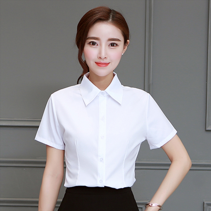 2019 Women Summer Plus Size Solid White Office Wear Loose Shirts Female Slim Fit Lapel Blouses Casual Short-sleeved Tops Shirts
