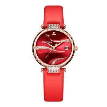 цена 2020 Reef Tiger/RT Rose Gold Case Stainless Steel Diamonds Fashion Womens Automatic Waterproof Red Dial Watches RGA1589 онлайн в 2017 году