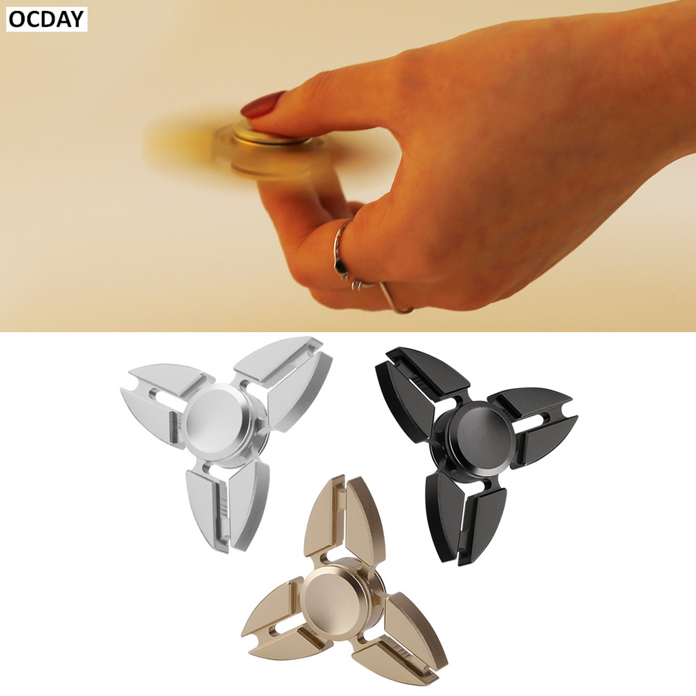 OCDAY Fidget Spinner Metal Triangle Fingertips Gyroscope Hand Spinner Decompression & Relief & Brass Puzzle & Focus Toys New