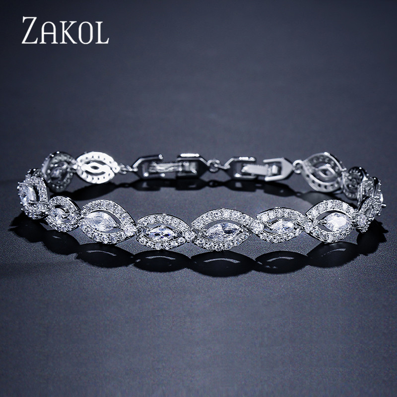 ZAKOL Fashion Clear White Cubic Zirconia Oval Shape Bracelet Bangle For Women Jewelry Gift FSBP2017