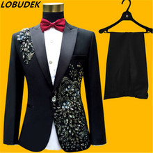 (jacket+pants+bow tie) male suit set blazer crystals white stones performance formal dress red black prom groom party dress