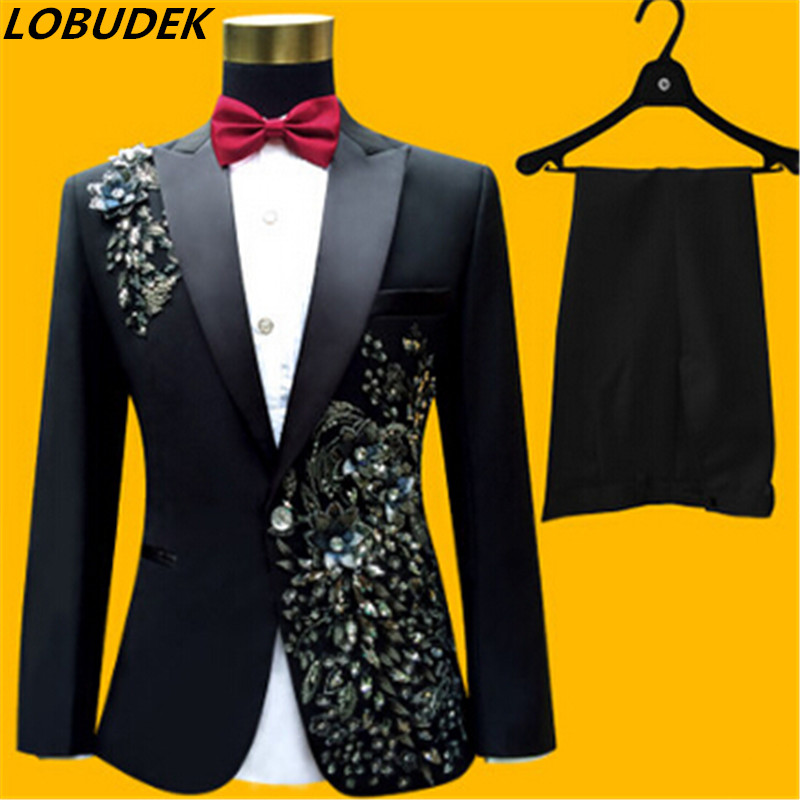 jacket pants bow tie male suit set blazer crystals white rhinestones performance formal dress red
