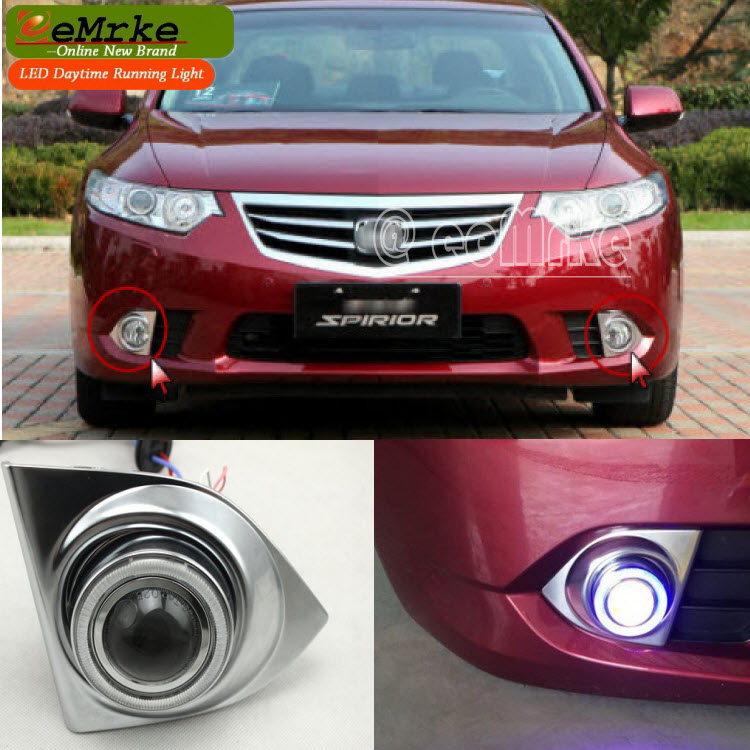 eeMrke COB Angel Eyes DRL For Acura TSX 2012 H11 30W Bulbs LED Fog Lights Daytime Running Lights Tagfahrlicht Kits eemrke cob angel eyes drl for lexus ct220h ct 200h f sport 30w bulbs led fog lights daytime running lights tagfahrlicht kits