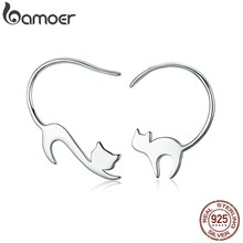 BAMOER Animal Collection 925 Sterling Silver Cute Napping Little Cat Drop Earrings for Women Sterling Silver Jewelry Gift SCE073(China)