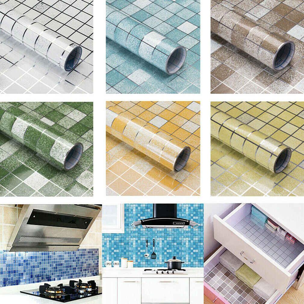 2019 Terbaru Hot Dapur Yang Dapat Dilepas Tahan Minyak Lukisan Dinding Seni Vinyl Kotak-kotak Dinding Stiker Rumah Kamar Dekorasi