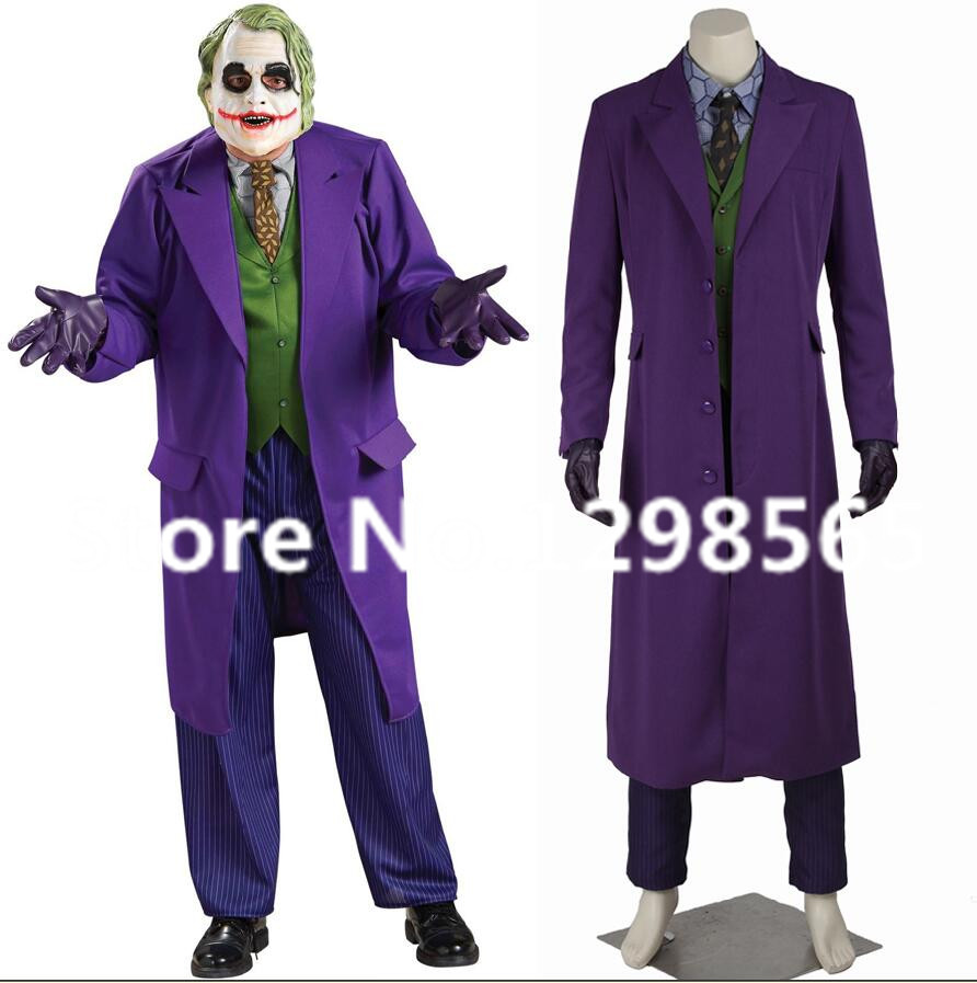 Custom Made Batman The Dark Knight Joker Costume Batman Suit Outfits Halloween Cosplay Movie Hero Costume Full Set With gloves