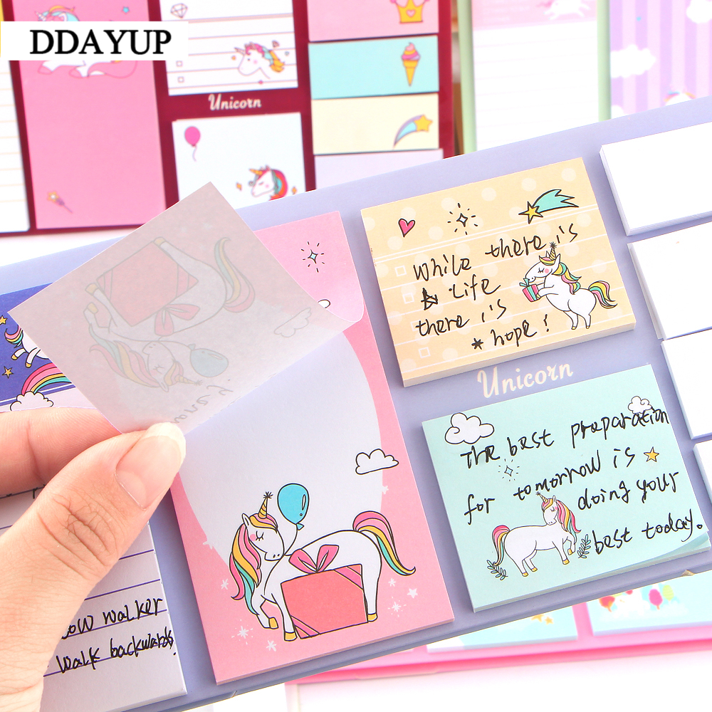 Cute Kawaii Cartoon Animal Finger Unicorn Memo Pad Note Sticky Paper Korean Stationery Cat Planner Sticker School Office Notebooks & Writing Pads