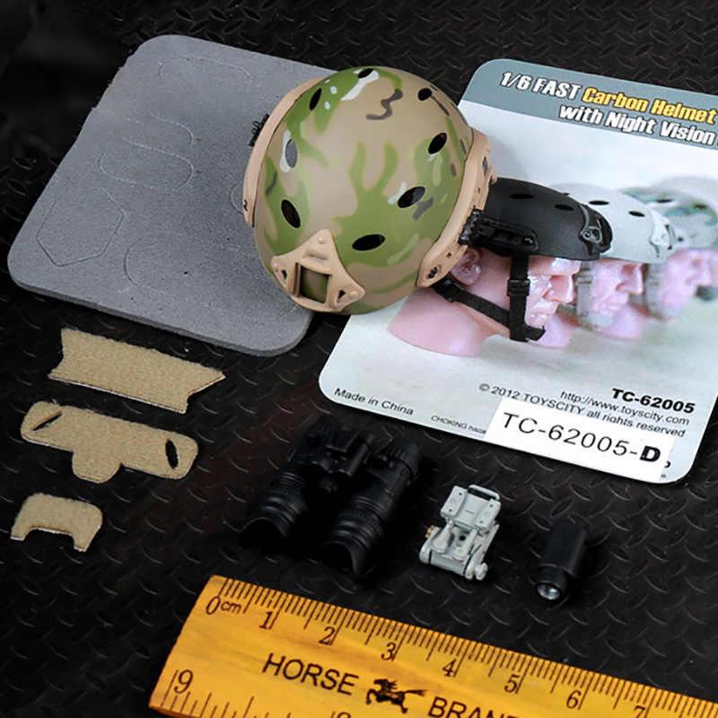 """1/6 ölçekli aksesuarları eylem FigureMilitary 62004 kurşun geçirmez kask/62005 Crash şemsiye kask Bk/kum/ACU/Cam TC 12 """"asker"""