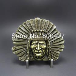 Розничная продажа поясная пряжка Античная бронзовая Индеец главный ремень в стиле вестерн с пряжкой Бесплатная доставка BUCKLE-WT003AB