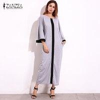 Vestido 2017 ZANZEA Для женщин более размер кимоно в полоску расклешенные S leeve полная длина кафтан Vint возраст дамы Повседневное свободные длинное Dre