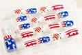 24 pçs/set bandeira américa falso pontas das unhas unhas unhas postiças posticas