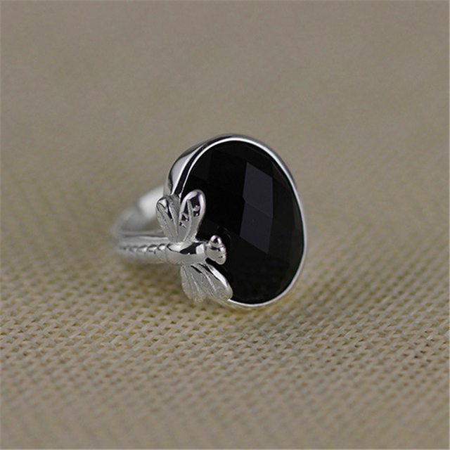 Antique Retro Ring With Big Stone Natural Amethyst Black Agate Genuine 925 Sterling Silver Accessories Womens Jewellery