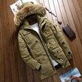Projeto bolsos de alta qualidade espessamento pato branco para baixo casaco homens plus size com capuz de pele quente jaqueta casual roupas masculinas MMF1