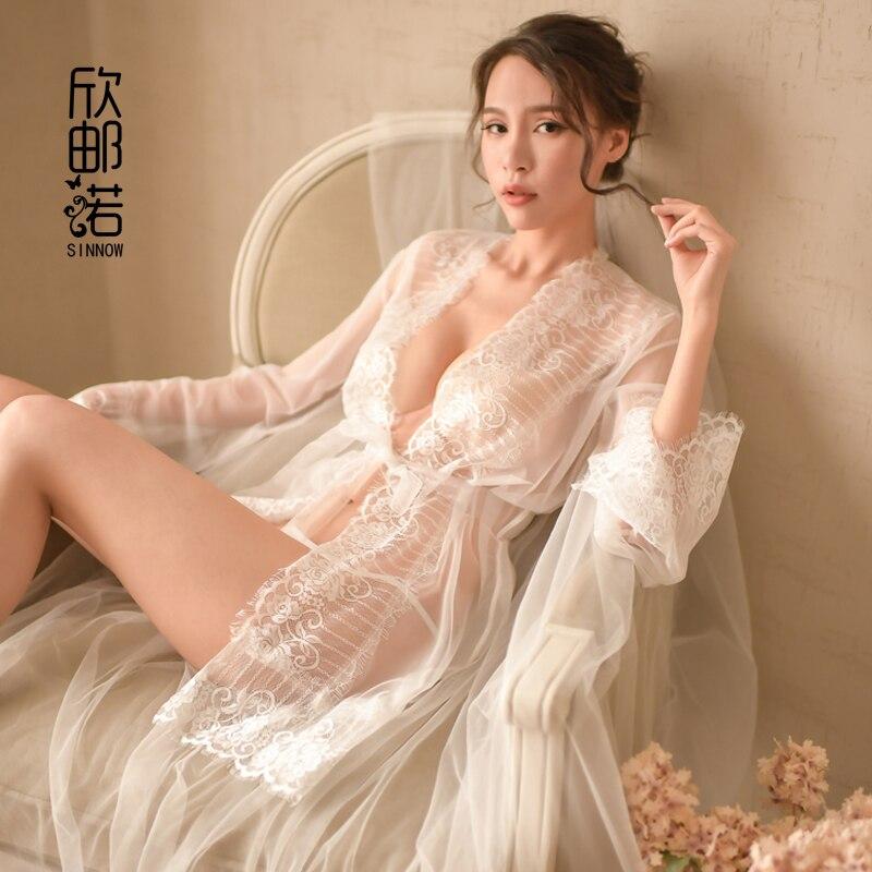 Sexy Transparent Intimates Women Robes Lace Sexy Sleepwear Gowns Bathrobe Kimono Sexy Sleepwear Perspective with Belt Free Size