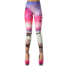1008 Fitness Elastic Women Leggings Sexy Girl Polyester Slim Fit Workout Pants Trousers Rainbow Moon evening glow Galaxy Printed
