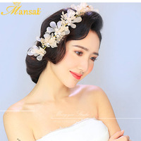 3colors Lace Flower Hairband White Peach Ivory Pearl Jewelry Headband Woman Hari Ornaments Wedding Bridal Hair