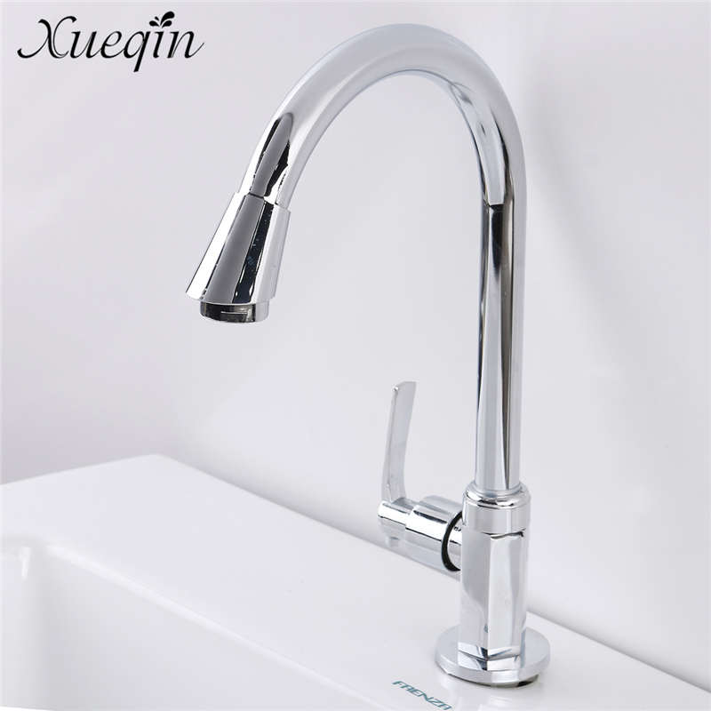 цена на Xueqin Bathroom Basin Faucets Stainless Steel Kitchen Faucet Single handle Sink Faucet Tap Brass Bathroom Water Mixer Faucet