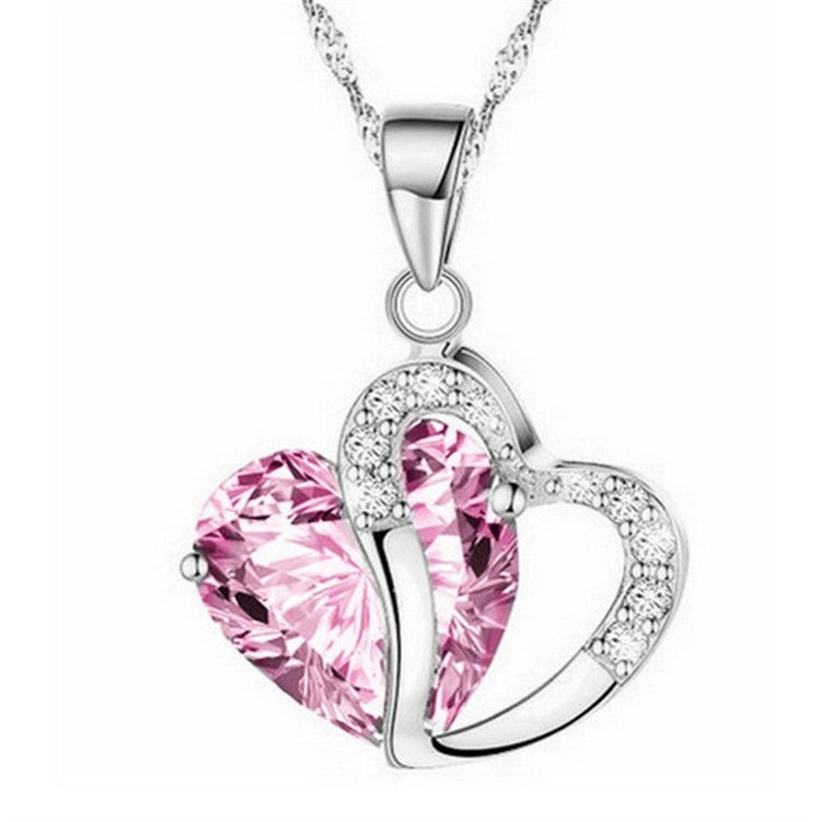 Ladies Heart Necklace - pink