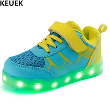 New USB Charging Glowing Shoes Children Sports Sneakers Boys Girls Mesh Casual Light Kids Lighted PU Leather 018